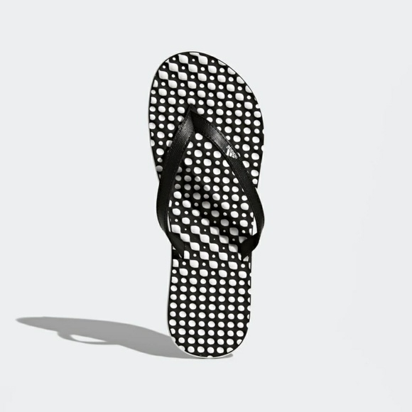 b35203bc42fe5d NWT Adidas Eezay Dots Flip-Flops Black White Sz 7